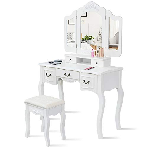 HOMGX Vanity Set with Tri-Folding Mirror and Cushioned Stool, Girls Multifunctional Dresser, Makeup Dressing Table with Removable Top, 5 Storage Drawers, White