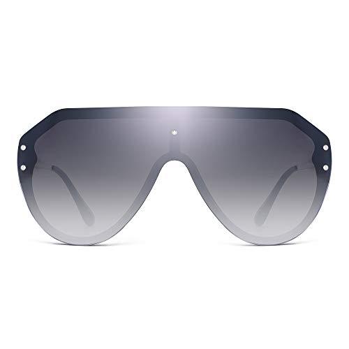JIM HALO Oversized Proteger Gafas de Sol Sin Marco Plano Top Espejo Anteojos Mujer Hombre(Marco Negro/Lente Gris Gradiente)