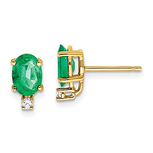 Jewelry-14k 7x5mm Oval Emerald VS Diamond Earrings