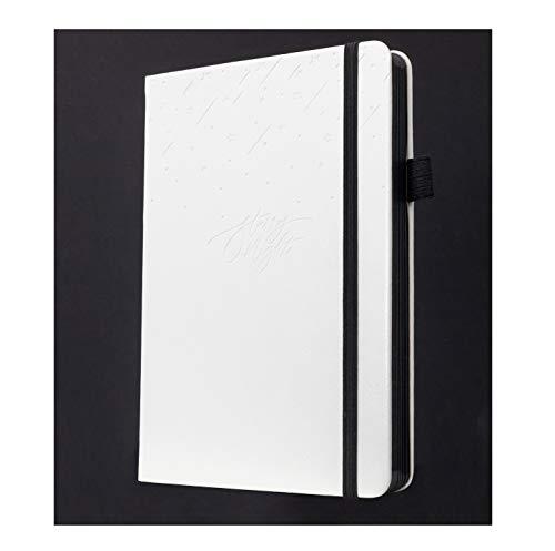 A5 Starry Night Dotted Journal von Scribbles That Matter – Bullet Bujo Dot Grid Notebook – 160gsm schwarzes Papier ohne Bleed – Erstellen Sie Ihren eigenen einzigartigen Lebensorganisator - Weiß