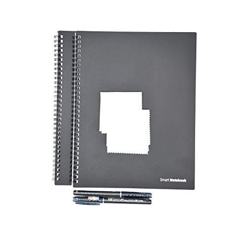 Dreiklang 2er Set Groß wiederverwendbares smartes Notizbuch Schreibblock, schwarz, Exekutive DIN A 4, Linien, inklusive Stift und Microfasertuch