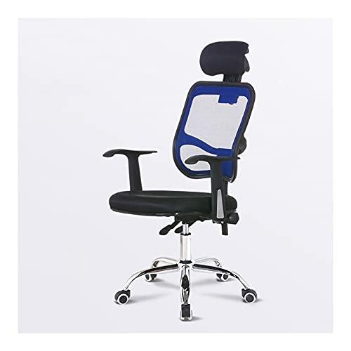 ZRJ Silla de oficina ergonómica cómoda silla de oficina silla de malla transpirable para sala de conferencias, casa o oficina (color: azul)