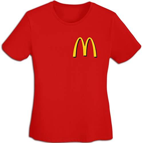 Damen Plain-Mc-Donalds-Logo Logo Merch Kurzarm Bekleidung T-Shirt V-Ausschnitt Tee T Shirt Baumwolle Sommer für Frauen Red XL