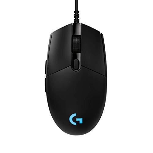 Logitech G PRO Gaming Maus, HERO 16000 DPI Sensor, USB-Anschluss, RGB-Beleuchtung, 6 Programmierbare Tasten, Benutzerdefinierte Spielprofile, Ultraleichtgewicht, PC/Mac - Englische Verpackung