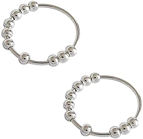 Qundkouy 2pcs Anxiety Ring, Stress Reliever Spinner Ring, S990 Sterling Silver Bead Ring, Silver Anxiety Spinner Ring, Helps to Calm Down Your Stress (14)