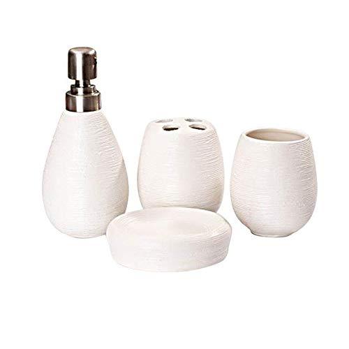 STPUS 4pcs Cerámica Titular de baño Establece Que la impresión de Paja Titular de baño Accesorios for el baño Home Hotel (Color : Blanco, Size : Gratis)