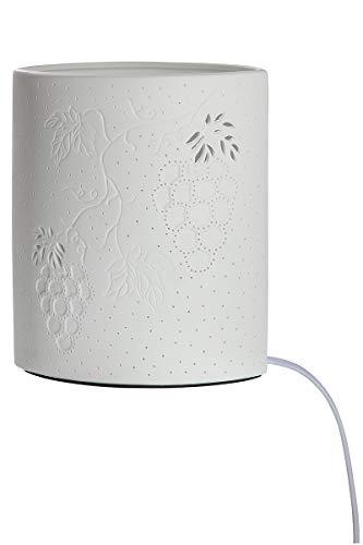 GILDE Lámpara de vino Ellipse de porcelana con patrón perforado Prickellock, altura de 28 cm