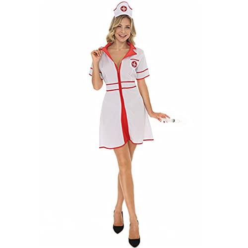 HIZQ Disfraz De Adulto Halloween Sexy Ángel Blanco Disfraz De Enfermera Juego Uniforme Médico De Enfermera Adecuado para La Actuación En El Escenario De La Fiesta De Disfraces,Blanco,M