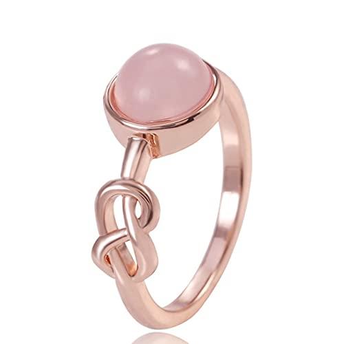SHILIU Romántico oro rosa anillo de color mujeres solitario piedra rosa princesa partido dedo accesorios moda joyería anillo