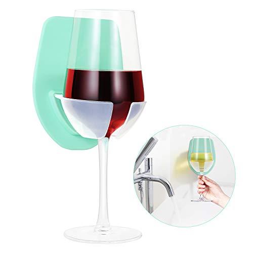 Weinglashalter aus Silikon für Bad & Dusche, Weinzubehör für Wein & Bier, Saugnapf-Getränkehalter mit starker Saugkraft, der Badewannen-Weinglashalter ist Entspannung Dusche Gadgets! (Grün)