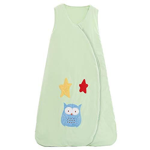 Schlafsack baby Winter Baumwolle Junge Mädchen Neugeborener - 2.5TOG kinder Schlafanzug. Grün - Eule und Stern. (150CM/6-10Jahre)