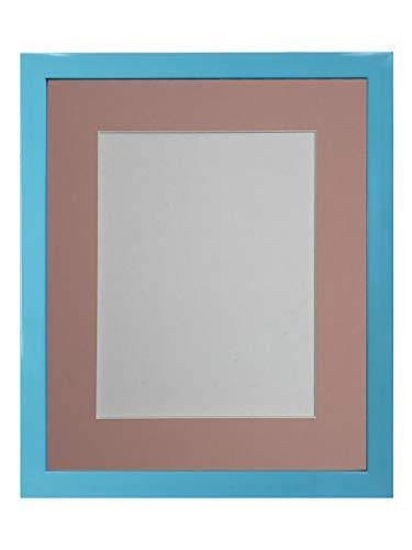 FRAMES BY POST - Cornice portafoto Blu con passepartout Rosa 35,6 x 27,9 cm, Formato A4, in plastica