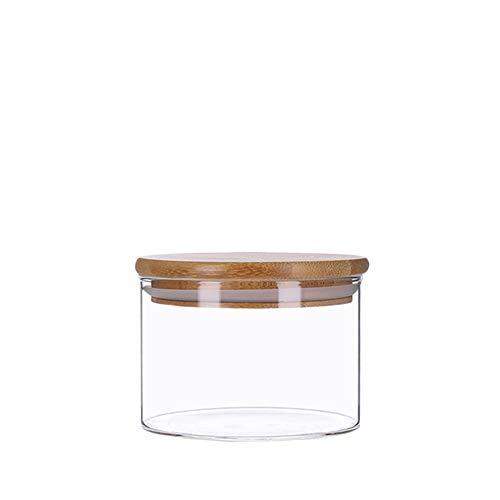 Vorratsdosen aus Glas mit Bambusdeckel, Vorratsgläser, Glasbehälter | 350 ml - 2200 ml | luftdicht, Spülmaschinenfest, Mottensicher (350 ml)