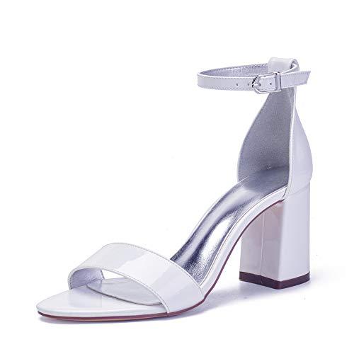 LGYKUMEG Zapatos de Boda de Las Mujeres de Rhinestones Plataforma Zapatos De Novia Sandalias de Tacón Puntera Abierta,Blanco,36EU/5US/3UK