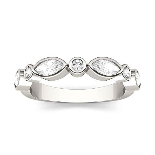 Charles & Colvard Forever One anillo grande - Oro blanco 14K - Moissanita de 5.0 mm de talla marquesa, 0.58 ct. DEW, talla 9,5