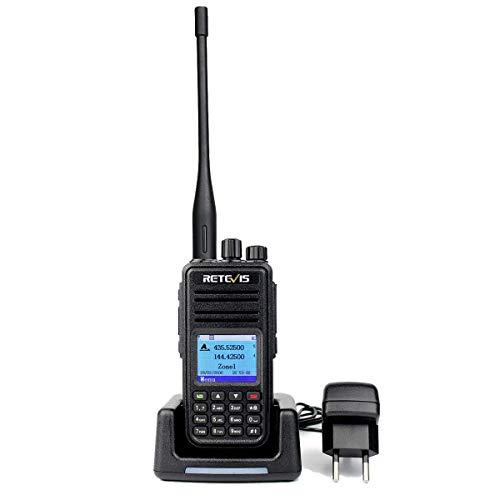 Retivis RT3S Walkie Talkie Digitale, DMR Dual Band, 3000 Canali DTMF, Funzione di Registrazione, Compatibile con MOTOTRBO Radio Amatoriale (1 Pezzo, Nero)