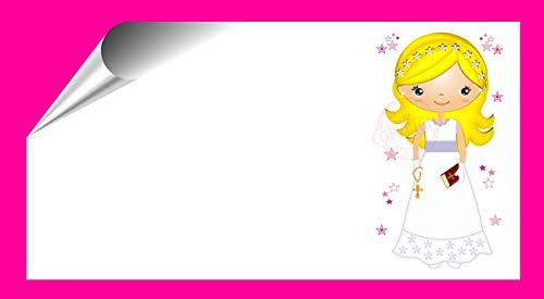 Kit 96 Etiquetas Mi Primera COMUNIÓN - Pegatinas Adhesivas Niña Rubia, Comunión para Regalo, Invitación, Fiesta, Candy Bar, Obsequios, Botes Chuches, Dulces, Tarros