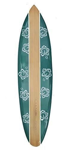 Interlifestyle Deko Surfboard 100cm grün Paintbrush Hibiskus Blumen Deko Hawaii Holzschild Surfbrett