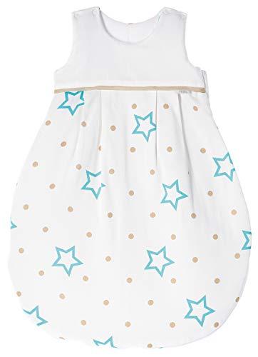 ZEWI bébé-jou Baby Winterschlafsack, 100% Baumwolle Satin, Größe: 50/56 (0-2 Monate Neugeborene), White Stars