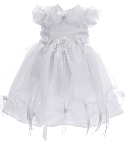 Princess Taufkleid 2 teiliges Blumenmädchenkleid Weiss aus 100% Duchesse Satin Modell Cinderella Gr. 68