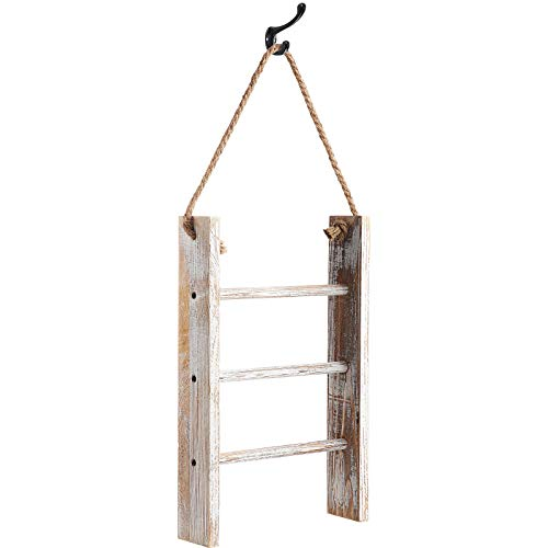 Patelai 3-Tier Mini Wall-Hanging Hand Towel Ladder with Rope Decorative Wooden Bathroom Towel Rack Ladder and Hook for Farmhouse Room Decor (Wood Color, White)