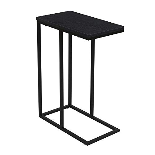 Household Essentials Industrial Narrow End Table | Metal C Shaped Frame and Rectangle Faux Top, Black Wood Grain