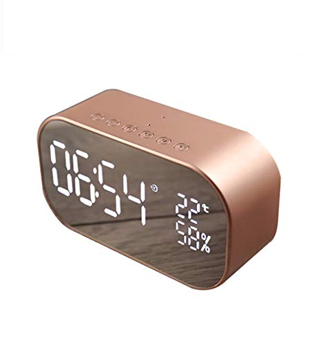 Enjoy Best Time Digital Radio Alarm Clock,Wirless Bluetooth Speaker Clock USB Charging AUX TF Card Play for Desktop(Rose Gold)