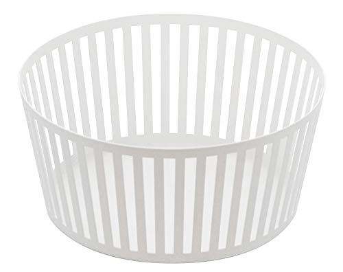 Yamazaki Striped Steel Fruit Basket-Kitchen Storage Produce Holder Frutero, Acero, Blanco