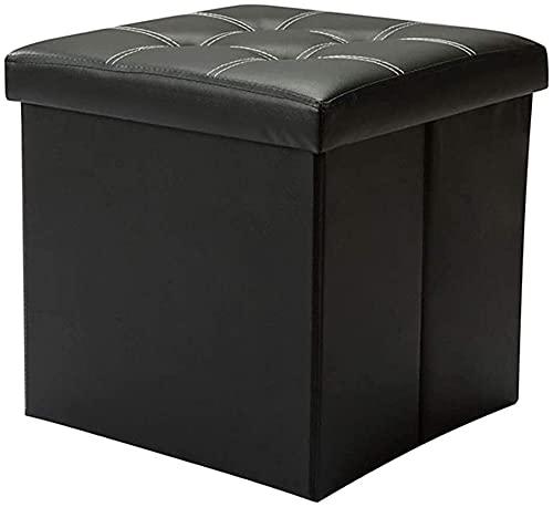 XIAOZHEN Reposapiés de almacenamiento de cuero + banco de fibra acolchado cómodo taburete de repuesto para el hogar, caja de almacenamiento, taburete otomano (color: negro)