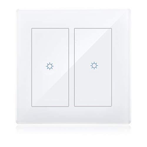 Smart zigbee 2 Interruptor de luz de grupo en la pared para Echo Plus Compatible Zigbee Bridge Hub para luces normales con control de control de voz de Google Asistente de Alexa