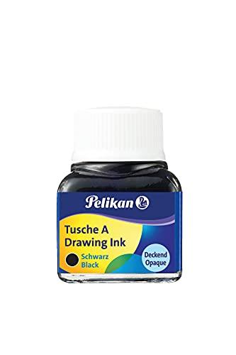 Pelikan 201665 - Tinta China 523-17, 10 ml en vidrio, se puede usar en papel, tarjetas de dibujo y películas opacas, negro perla