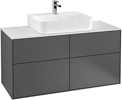Villeroy en Boch Finion wastafelonderkast F13200, 1200x603x501mm, afdekplaat Zwart mat, Kleur: Antraciet mat - F13200GK