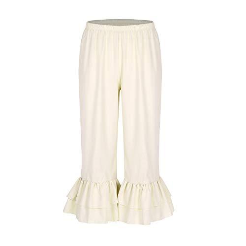 MSemis Damen Hose Viktorianisch Rüschen Lolita Kürbis Pantalons Weiß Pettipants Hexenhose Mittelalter Renaissance Pumphose Cosplay Kostüm Beige Large