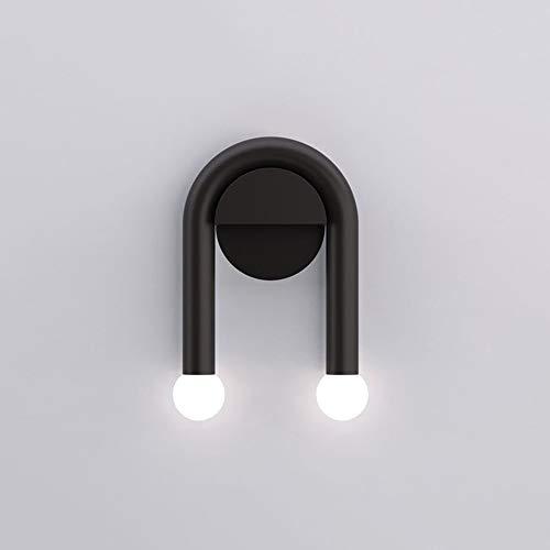 WHSS Luces de pared simple negro lámpara de pared 16 * 23 cm Hotel Sala Dormitorio Pasillo Pasillo Luz LED Nordic Postmodern personalidad Creativa