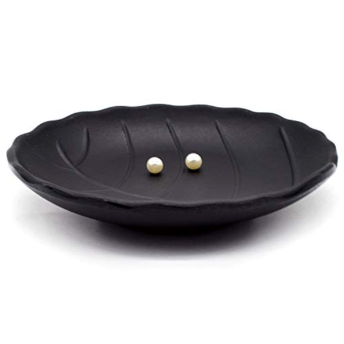 AUEAR, A5 Melamine Leaf Trinket Dish Decorative Jewelry Tray Dish Ring Holder Organizer for Jewelry Keys Food Safe Dishware Black (Leaf Style 1)
