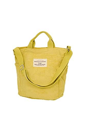 Ulisty Damen Cord Schultertasche Lässige Handtasche Mode Schultasche Umhängetasche Gelb