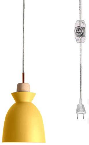 FSLiving Nordic Wooden - Lámpara de techo colgante con casquillo de 4,5 m de enchufe, con regulador de intensidad de encendido/apagado CE, cable de interruptores, color amarillo, pantalla de lámpara