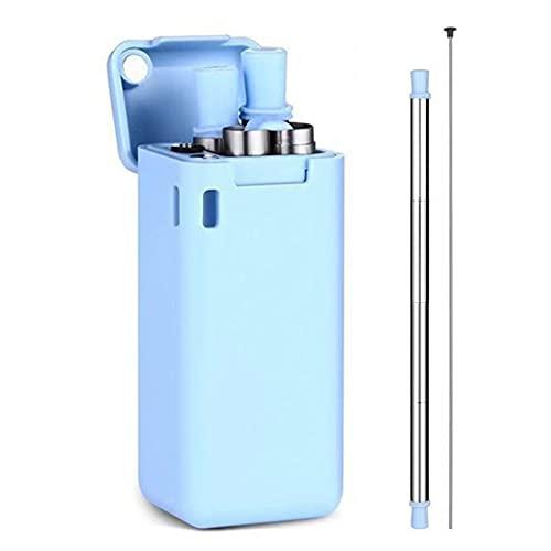 Cannuccia di silicone pieghevole riutilizzabile con rivestimento in acciaio inossidabile, spazzola per la pulizia e copertura per la pulizia, facile da pulire, compatibile con acqua calda e fredda