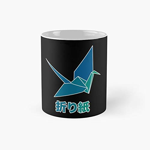 Origami Crane Blue Classic Mug | Best Gift Funny Coffee Mugs 11 Oz