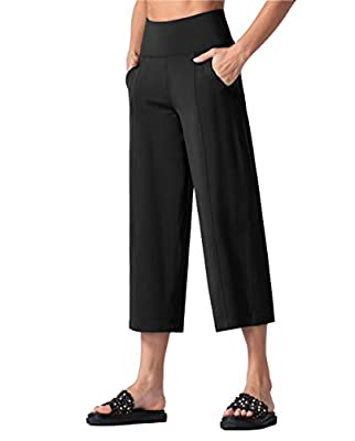 THE GYM PEOPLE Bootleg Yoga Capris Pants for Women Tummy Control High Waist Workout Flare Crop Pants with Pockets (Large, Black)