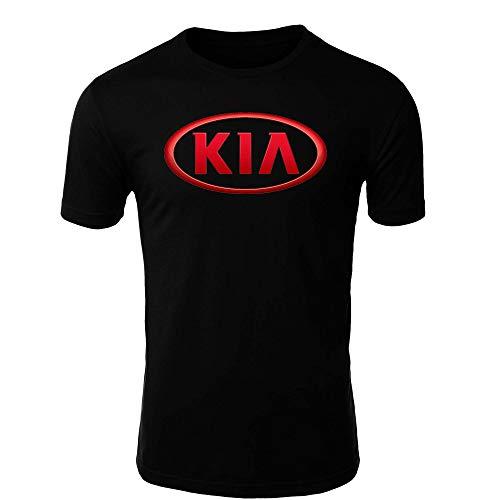 KIA T-Shirt Logo Clipart Herren CAR Auto Tee TOP Black White Short Sleeves (XL, Black)