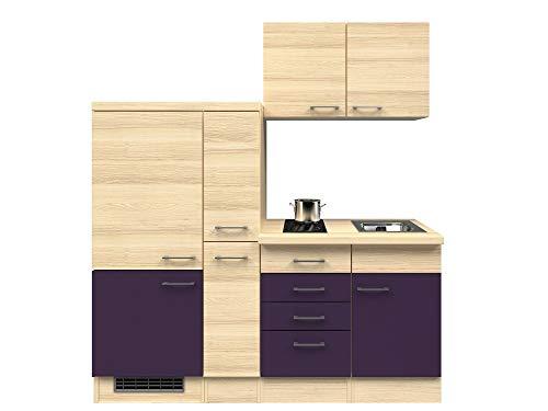 Smart Möbel Küchenzeile 190 cm Aubergine/Akazie mit 2-Zonen-Glaskeramik-Kochfeld, Kühlschrank und Spüle - Otto