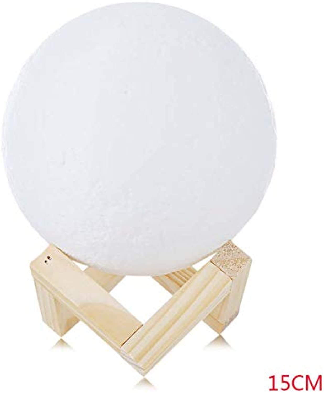 OUSENR Tischleuchte Touch Switch Nacht Lampen 3D Drucken Mond Lampe Nachtlicht 2 Farbe ndern Home Einrichtung Mit Halter Cm Geschrumpft 9 Cm 10 Cm 12 Cm 15 Cm 18 Cm, Wie Gezeigt, 15 Cm