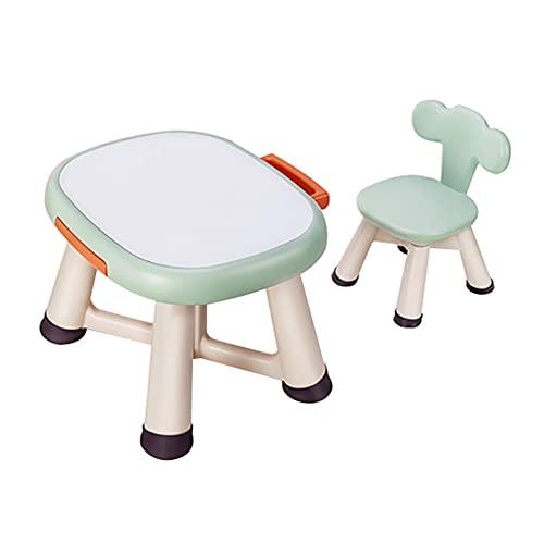 Juego de mesa y silla para niños, mesa y silla de estudio para niños de plástico para el hogar, mesa de graffiti con cajón de almacenamiento, mesa cómoda para escribir y juegos, resistente y dura