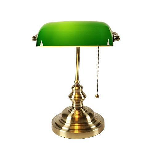 ROIY Klassische Vintage-Banker Lampe Tischlampe E27 Mit Schalter Grüne Glaswasc Abdeckung Tischleuchten For Schlafzimmer Studie Hause Lesen