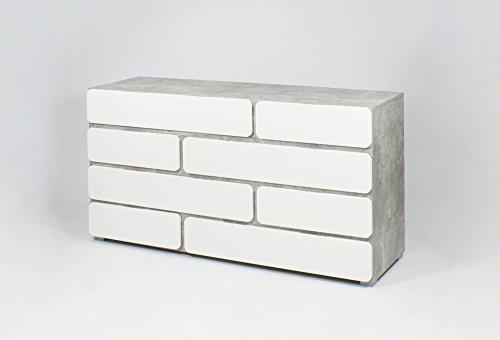 Homexperts Sideboard Rimini / Qualitativ hochwertige Wohnzimmer-Kommode aus Holzwerkstoff mit viel Stauraum / 159 x 41 x 82 cm / Fronten: Weiß Hochglanz, Korpus: Beton-Optik grau