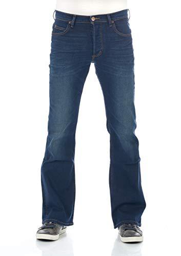 Lee Herren Jeans Jeanshose Denver Bootcut Stretch Denim Hose Baumwolle Blau Up Finish Bright Blue w30 - w44, Größe:W 33 L 30, Farbvariante:Bright Blue (L716KIGY)