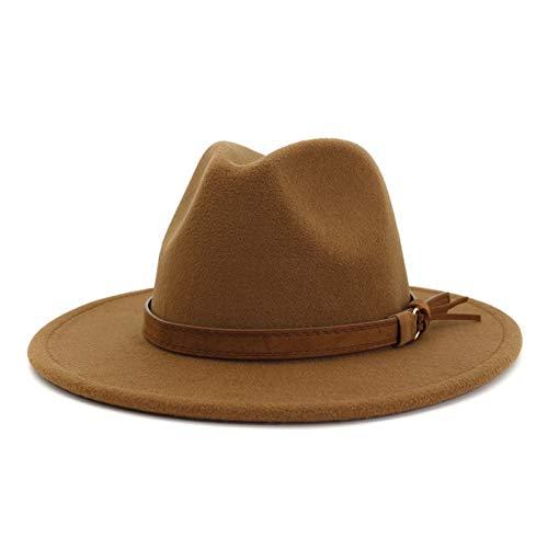 Lisianthus Men & Women Vintage Wide Brim Fedora Hat with Belt Buckle A-Khaki 59-60cm