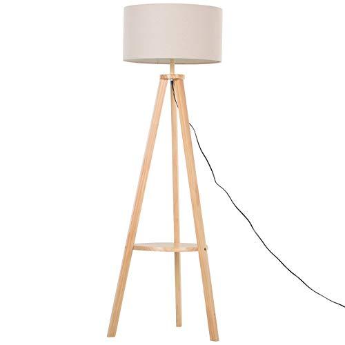 HOMCOM Modern Tripod Floor Lamp Bedside Light Reading Light W/Storage Shelf Linen Beige Cylinder Shade Cream Living room Bedroom Free Standing
