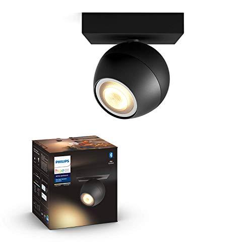Philips Hue White Amb. LED 1-er Spotleuchte Buckram, schwarz, dimmbar, alle Weißschattierungen, steuerbar via App, kompatibel mit Amazon Alexa (Echo, Echo Dot), 915005919201